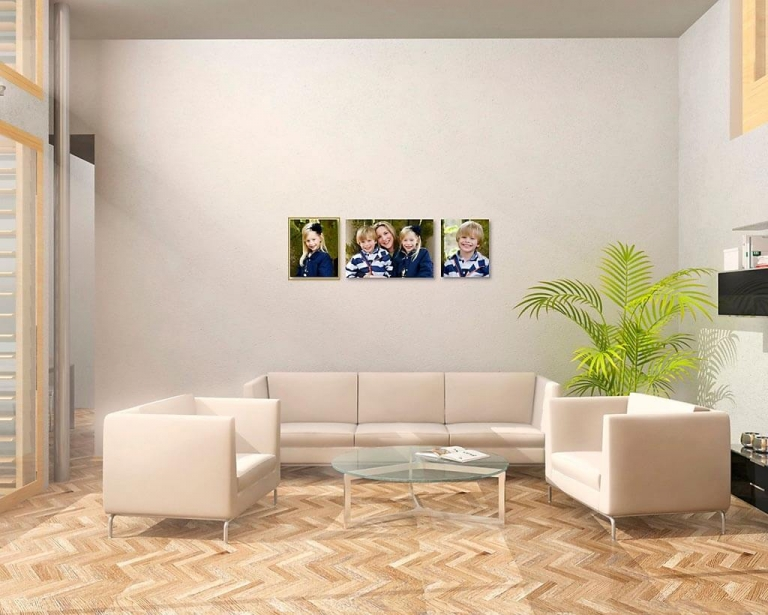 Image of modern lounge with frameless family portraits on wall